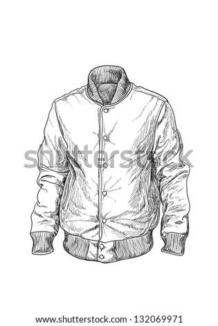 Baseball jaket on white background - stock vector