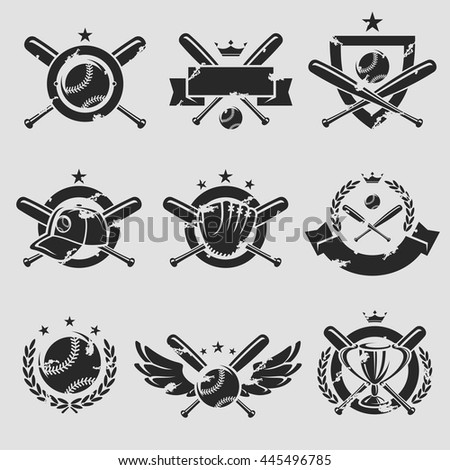 Baseball labels and icons set. Vector - stock vector