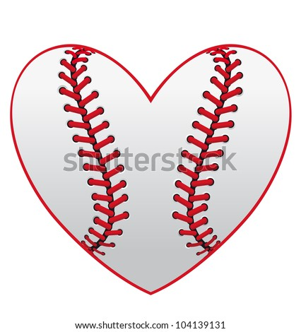 Baseball leather ball as a heart for sport emblem design, such logo. Jpeg version also available in gallery - stock vector