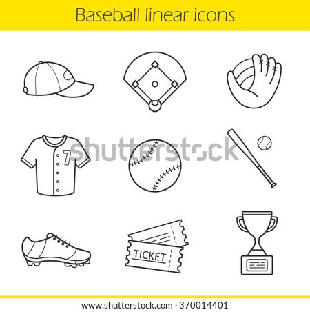 Baseball linear icons set. Isolated baseball game equipment thin line illustrations. Baseball player uniform cap, shirt and shoes. Baseball bat and ball contour symbols. Vector isolated drawings - stock vector