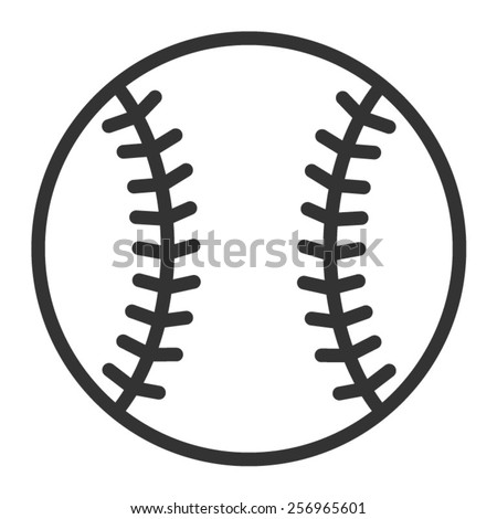 Baseball or baseball homerun line art icon for sports apps and websites - stock vector