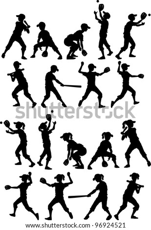 Baseball or Softball Players Silhouettes of Kids - Boys and Girls - stock vector