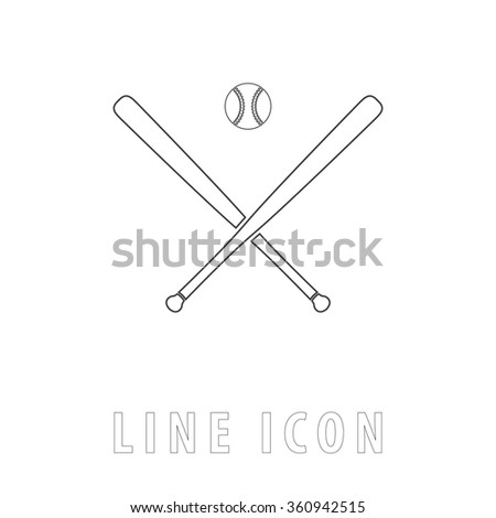 baseball Outline simple vector icon on white background. Line pictogram with text  - stock vector