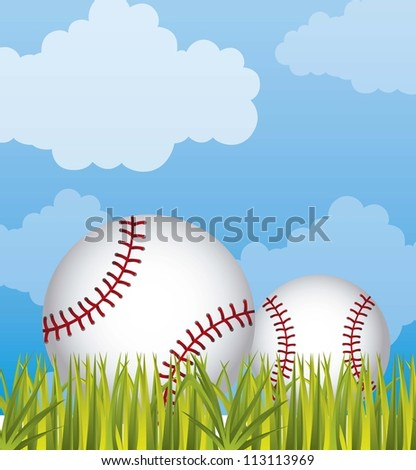 baseball over grass and sky background. vector illustration - stock vector