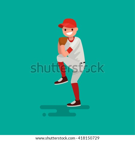 Baseball pitcher player throws the ball . Vector Illustration flat design - stock vector