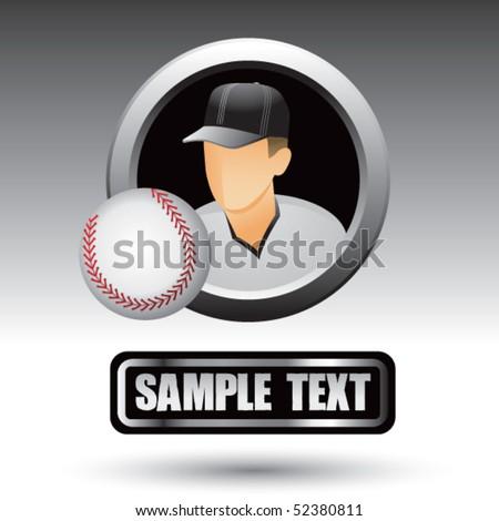 baseball player blank nameplate - stock vector