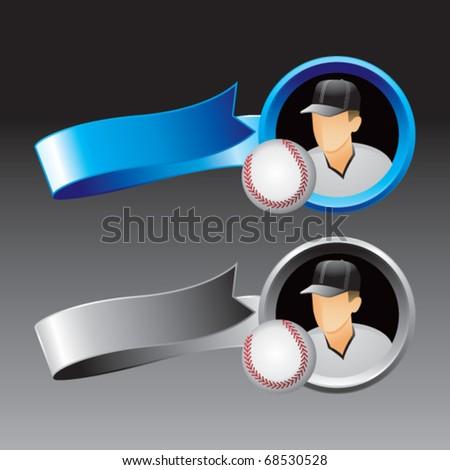 baseball player blue and gray ribbons - stock vector