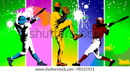 Baseball player catches the ball in the trap (vector illustration); - stock vector