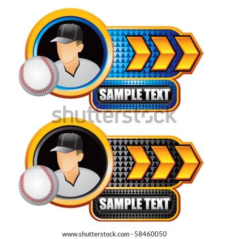 baseball player gold arrow nameplates - stock vector
