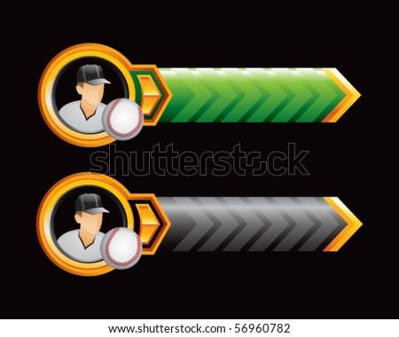 baseball player green and black arrows - stock vector