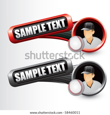 baseball player red and gray tilted banners - stock vector