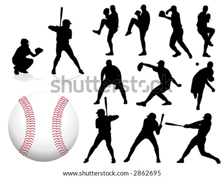 Baseball Player Silhouettes - Vector.