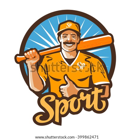 baseball player vector logo. championship, champion or sport icon - stock vector