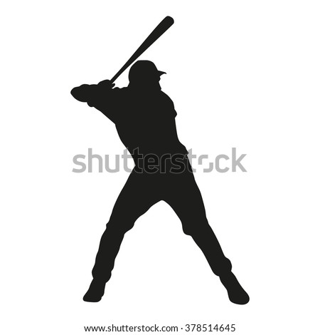 Baseball player vector silhouette. Isolated batter icon