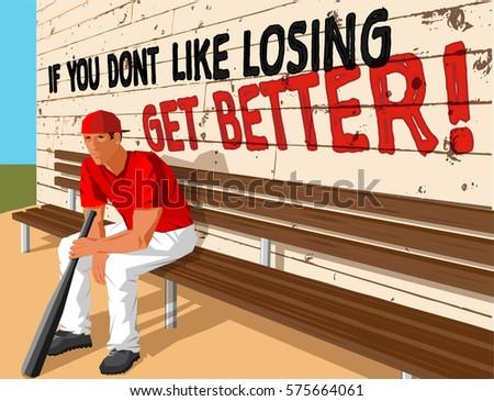 baseball player bat sitting on wood stock vector 575664061