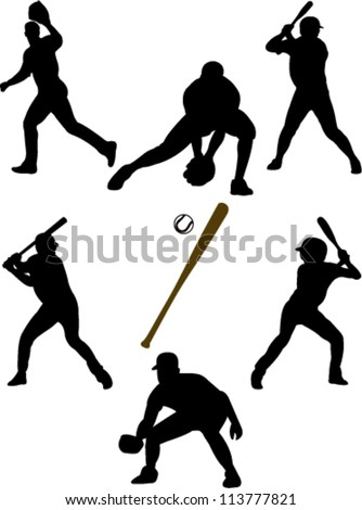 baseball players collection vector - stock vector