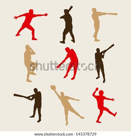 baseball players over white background vector illustration - stock vector