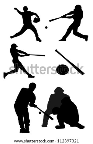Baseball players silhouettes. - stock vector