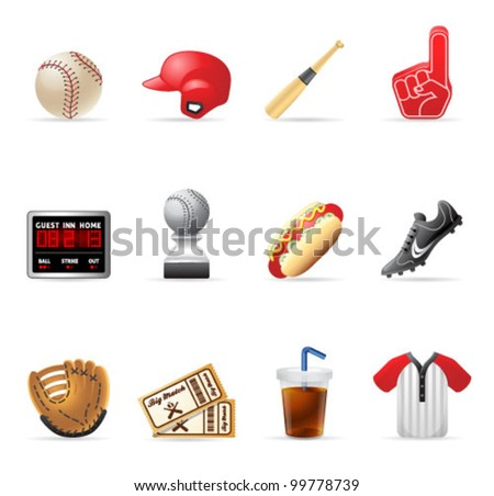 Baseball related icons.  EPS 10 with transparencies & transparent shadows placed on layer beneath. - stock vector