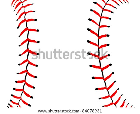 Baseball Seams Close Up Detail - Vector Illustration. (High Resolution JPEG Version Also Available). - stock vector