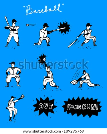 Baseball set - stock vector