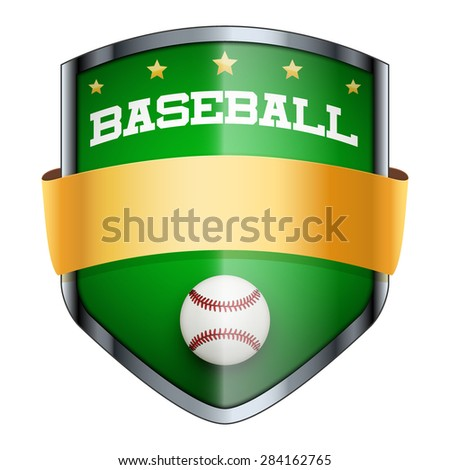Baseball Shield badge. The symbol of the sports club or team. Vector Illustration isolated on white background. - stock vector