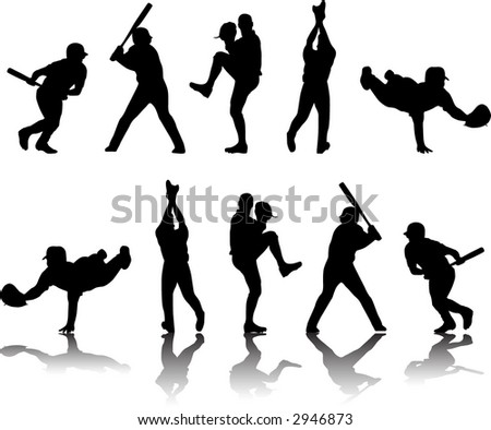 Baseball Silhouettes and Reflections - stock vector