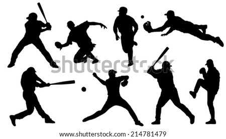 baseball silhouettes on the white background - stock vector