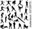 baseball silhouettes - vector - stock vector