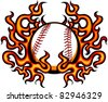Baseball Template with Flames - stock vector