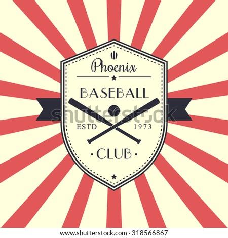 Baseball Vintage Emblem Logo On Shield With Crossed Bats Vector Illustration