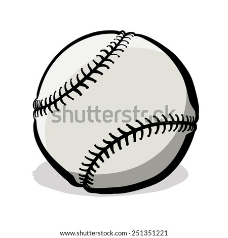 Baseball with clipping path. A children's sketch. Color image.