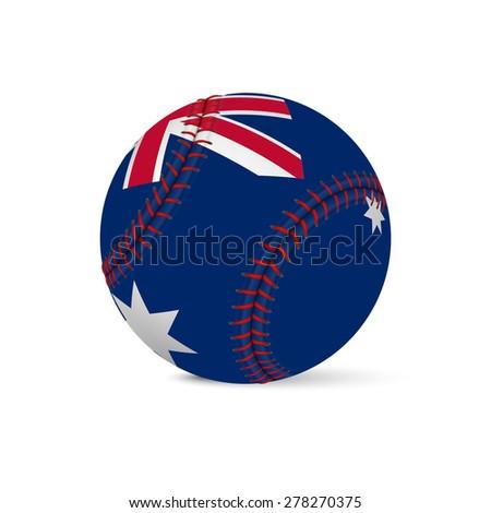 Baseball with flag of Australia, isolated on white background. Vector EPS10 illustration.  - stock vector