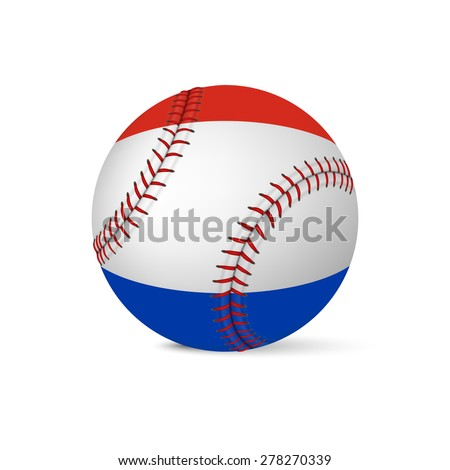 Baseball with flag of Netherlands, isolated on white background. Vector EPS10 illustration.  - stock vector