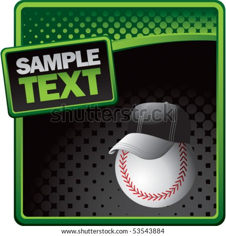 baseball with hat halftone template - stock vector