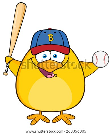 Baseball Yellow Chick Cartoon Character Swinging A Baseball Bat And Ball. Vector Illustration Isolated On White - stock vector