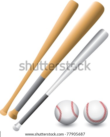 Baseballs and bats on isolated backdrop - stock vector