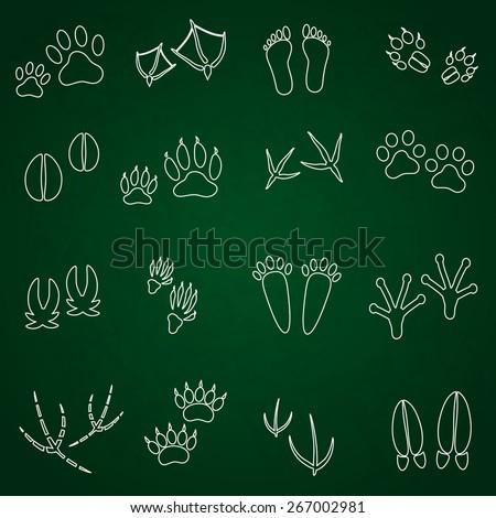basic animal footprints outline icons set eps10 - stock vector
