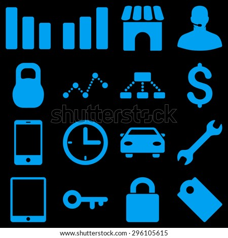 Basic business vector icons. These plain symbols use blue color and isolated on a black background.