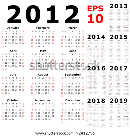 Basic Calendar 2012, 2013, 2014, 2015, 2016, 2017, 2018, 2019 - stock vector