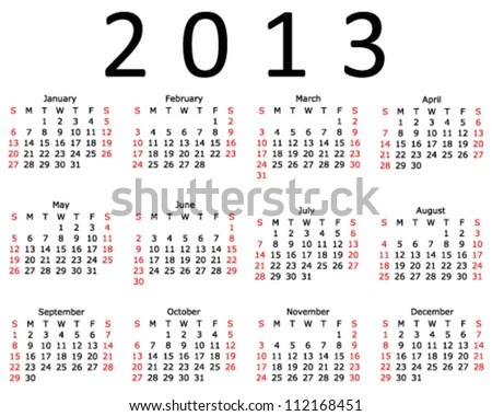 Basic 2013 Calendar in a 4x3 EPS 10 format - stock vector