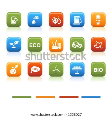 Basic color icons, eco - stock vector