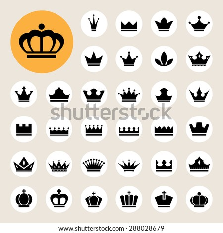Basic Crown icons set . - stock vector
