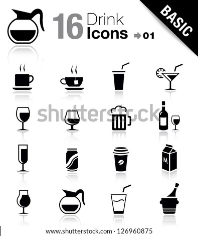 Basic - Drink Icons - stock vector