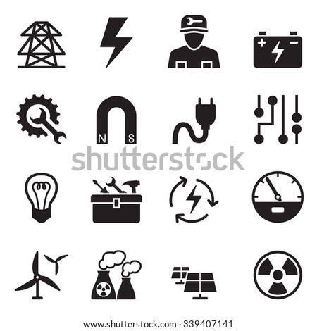 Basic Electricity icons set - stock vector