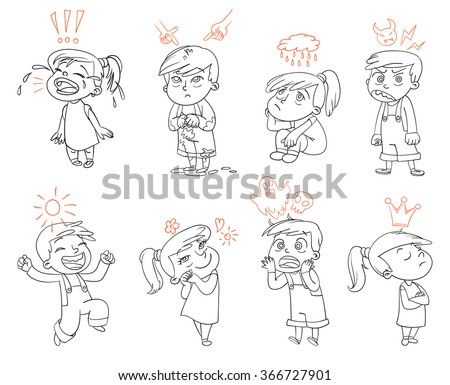 Basic emotions. Mad, Sad, Glad, Scared, Love. Funny cartoon character. Vector illustration. Isolated on white background. Coloring book - stock vector