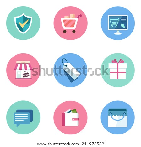 Basic Flat icon set for Web and Mobile Application. Shopping and spending - stock vector