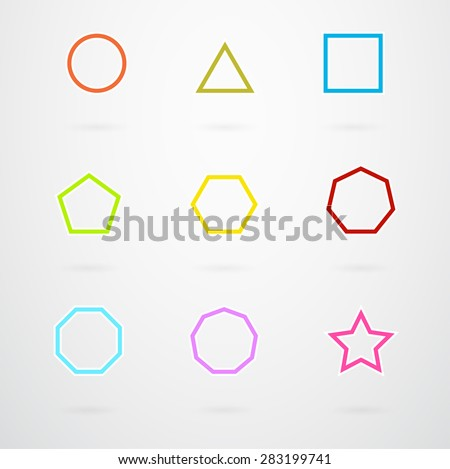 Basic Geometric Shapes Vector Icon Set In Retro Colors - stock vector