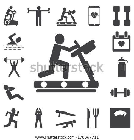 Basic - Health and Fitness icons - stock vector