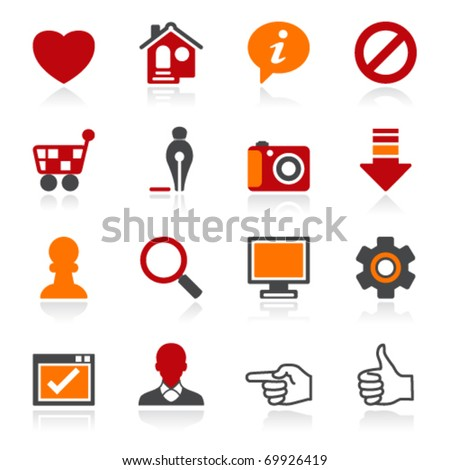 Basic icons. Color series. - stock vector